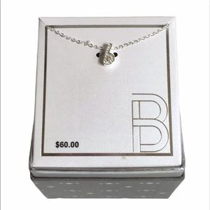"""Silver-Plated CZ Initial """"B"""" Pendant Necklace New"""